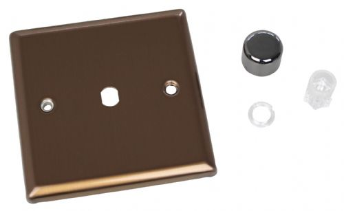 Varilight WY1.BZ Urban Brushed Bronze 1 Gang Dimmer Plate Only + Knobs